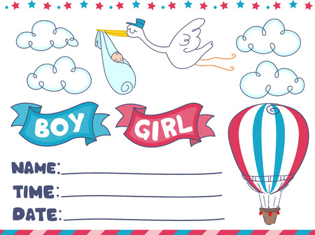reveal: Illustration of an Invitation for a Gender Reveal Event