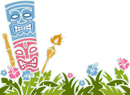 hawaiian: Stencil Illustration of a Tiki Statue Surrounded by Colorful Flowers