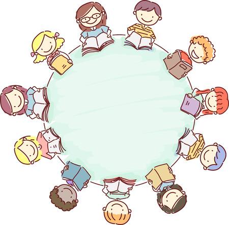 Doodle Ilustración de un círculo de niños Libros de lectura Foto de archivo - 43640458