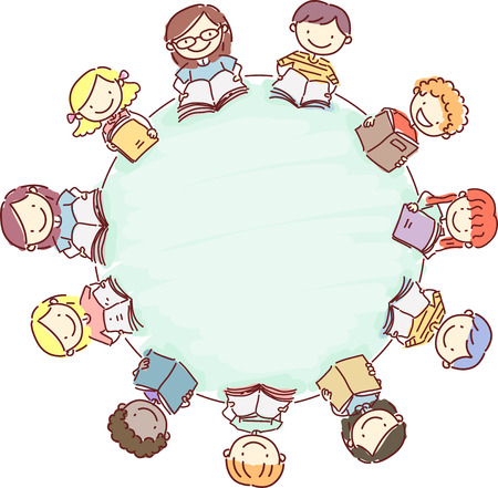 Doodle Illustration of a Circle of Kids Reading Books Stock Photo