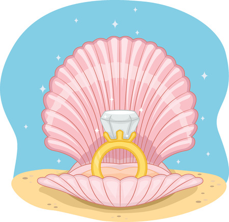 shell: Illustration of a Wedding Ring Sitting in the Middle of an Open Shell Stock Photo
