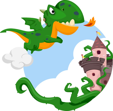 hovering: Illustration of a Cute Dragon Hovering Above a Castle Stock Photo