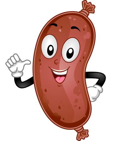cartoonize: Mascot Illustration of a Sausage Pointing to Itself