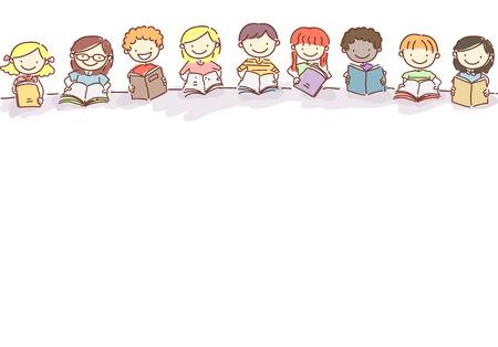 Doodle Illustration of Little Kids Reading Books