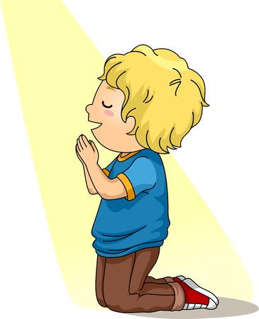 Illustration of a Little Boy Kneeling Down in Prayer Foto de archivo