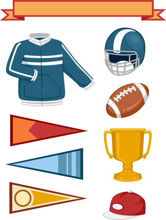 tertiary: Illustration of Elements Typically Associated with College Sports Stock Photo