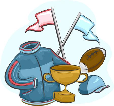 memorabilia: Illustration Featuring Assorted Sports Memorabilia Stock Photo