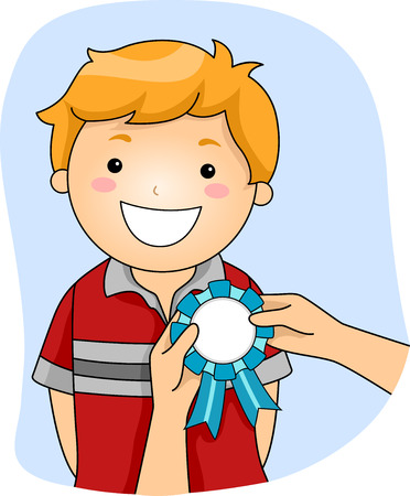 achievement clip art: Illustration of a Little Boy with a Ribbon Being Pinned to His Chest