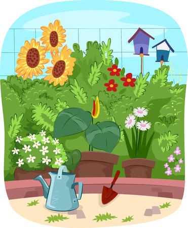 flower gardens: Escénico Ilustración de un jardín lleno de flores coloridas
