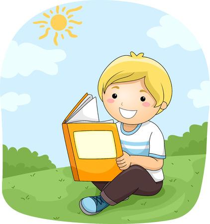 niños: Ilustración de un Niño leyendo un libro al aire libre Foto de archivo