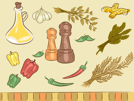 associated: Illustration of Elements Typically Associated with Spices Stock Photo
