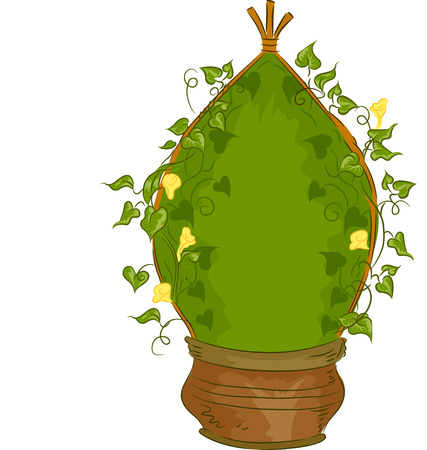 garden plant: Illustration of a Potted Plant Designed to Grow as a Teepee Vine