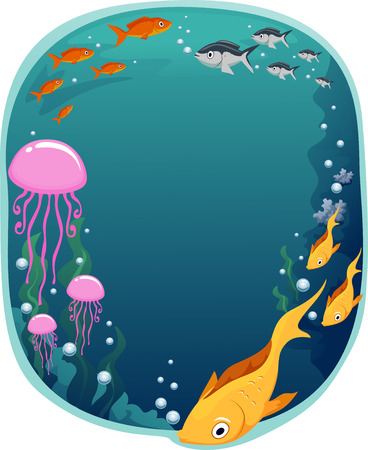 underwater scene: Frame Illustration of a Colorful Underwater Scene