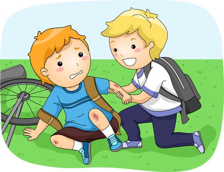 그의 자전거에서 떨어진 또 다른 소년을 돕는 작은 소년의 그림 스톡 콘텐츠