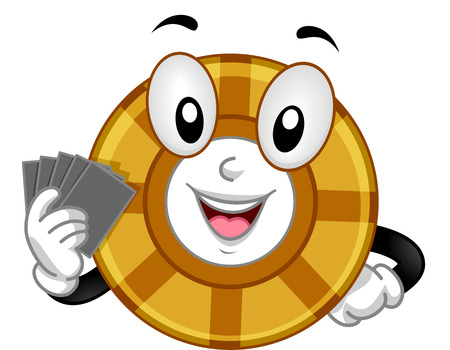 anthropomorphic: Mascot Illustration of a Gambling Chip Holding a Set of Cards