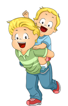 brothers: Illustration of an Older Brother Giving His Younger Brother a Piggy Back Ride