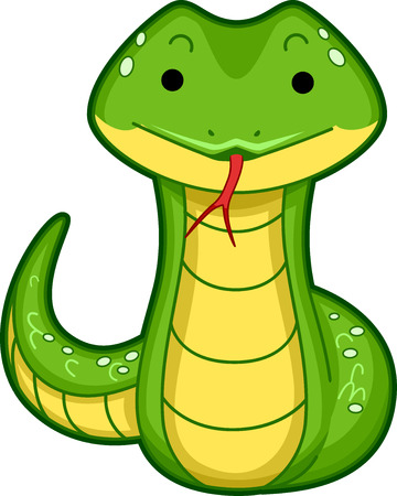 Cutesy Illustration of a Snake Sticking its Tongue Out