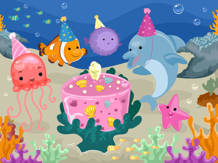 pufferfish: Colorful Illustration of Marine Animals Having a Birthday Celebration