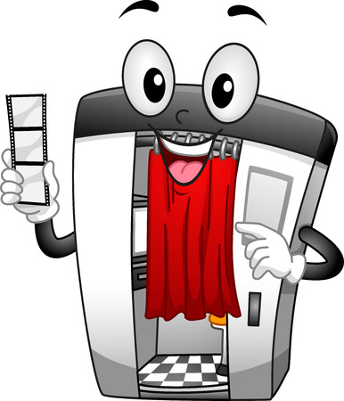 cartoonize: Illustration of a Photo Booth Mascot Holding a Strip of Film