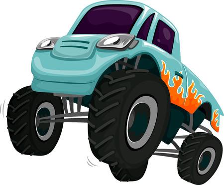 monster: Illustration of a Monster Truck Revving its Engine
