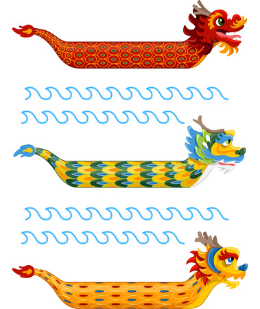 chinese dragon: Illustration of Dragon Boats with Varied and Colorful Patterns