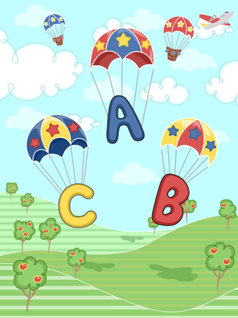 parachuting: Illustration of Letters of the Alphabet Parachuting Down