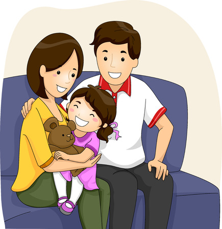 father and son: Illustration of a Couple with Daughter sitting on their Sofa Stock Photo