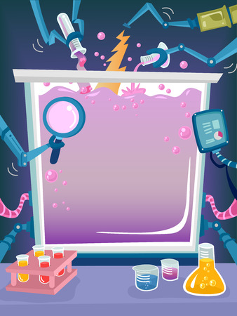 science lab: Frame Illustration Featuring Assorted Chemicals and Laboratory Tools