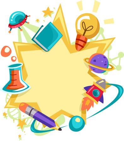 marcos decorativos: Ilustración marco con artículos relacionados con la ciencia