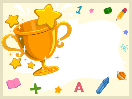 achievement clip art: Illustration of a Golden Trophy Surrounded by Letters and Numbers