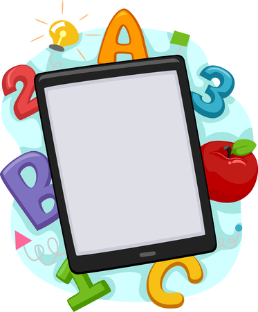 children art: Illustration of a Tablet Computer Surrounded by Letters and Numbers Stock Photo