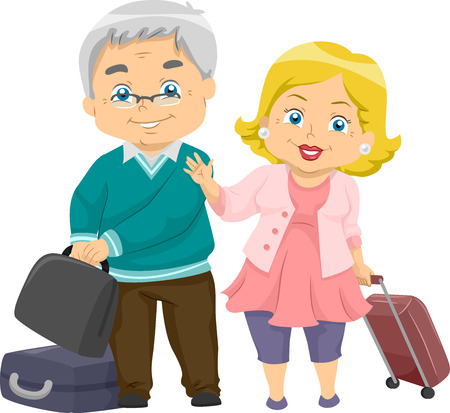 Illustration of an Elderly Couple Going for a Trip