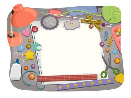 ricreazione: Illustrazione di un tavolo di studio con materiali Scrapbooking sparsi tutto intorno