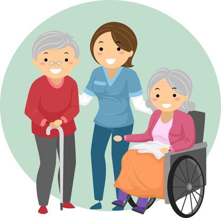 pacientes: Stickman Ilustración de un cuidador ayudar a los pacientes de edad avanzada