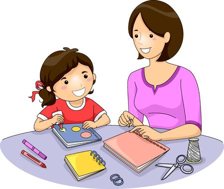 enseñanza: Ilustración de una madre enseñando a su hija Cómo hacer un libro Foto de archivo