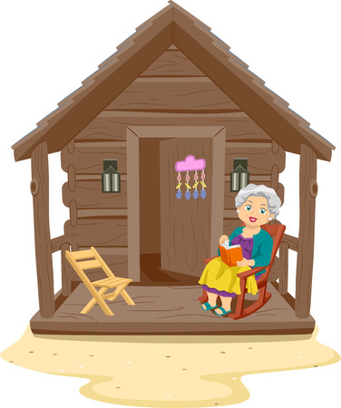 hobby hut: Illustration of an Elderly Woman Reading a Book in the Porch of Her Log Cabin Stock Photo