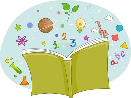 libro caricatura: Ilustración de un libro abierto con letras y números brote de Ella