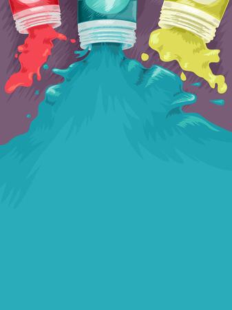 spilling: Background Illustration of Paints Spilling Out of Paint Bottles
