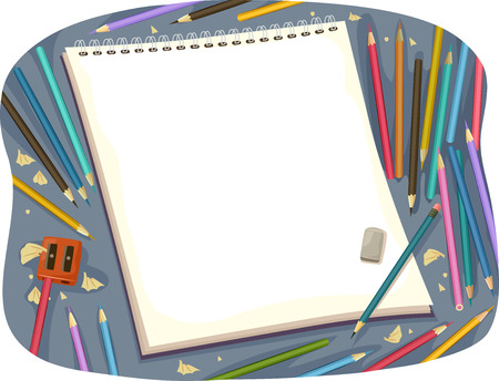 sketchpad: Illustration of a Sketchpad Surrounded by Colored Pencils Stock Photo