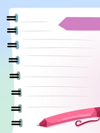 educativo: Antecedentes Ilustración de un Notebook Página con una pluma de descanso en su contra Foto de archivo