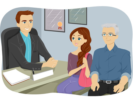 counseling: Illustration of a Grandfather Accompanying His Grandfather to a Counseling Session Stock Photo