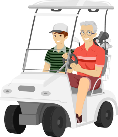 cart: Illustration of an Elderly Man Taking His Grandson for a Ride in a Golf Cart Stock Photo