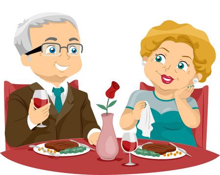 Illustratie van een ouder echtpaar eten in een Fine Dining restaurant Stockfoto