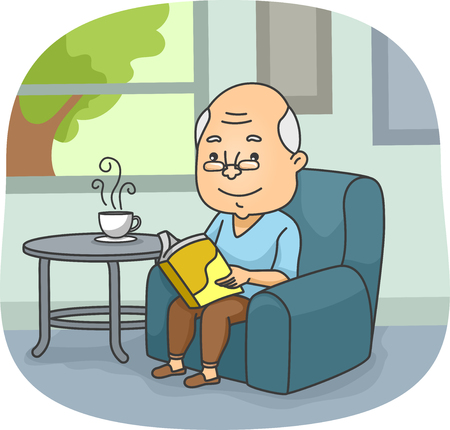 Illustration of an Elderly Man Reading a Book While Waiting for His Tea to Cool Down