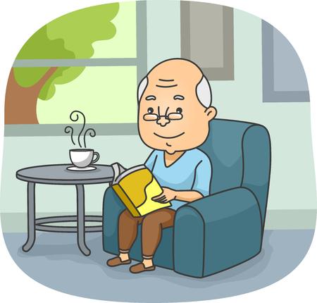 Ilustración de un hombre mayor que lee un libro mientras esperaba su té se enfríe Foto de archivo