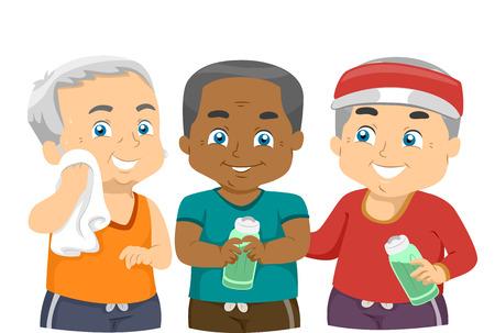 men exercising: Illustration of Elderly Men Exercising Together