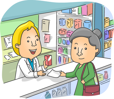 Illustration of an Elderly Woman Buying Medicine in a Pharmacy Stock Photo