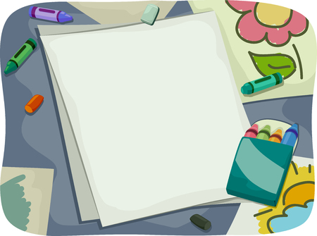 sketchpad: Background Illustration of Pieces of Paper Surrounded by Crayons