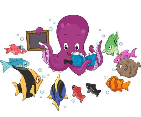 enseñanza: Ilustración de un Enseñanza pulpo un banco de peces