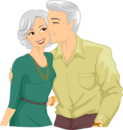 age old: Illustration of an Elderly Man Kissing the Cheek of an Elderly Woman Stock Photo